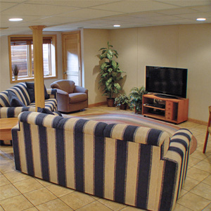 A Finished Basement Living Room Area in Caledonia, WI