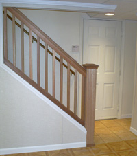 Renovated basement staircase in Sheboygan