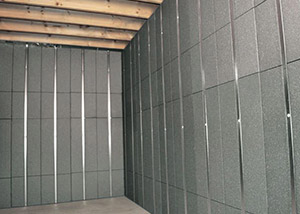 SilverGlo™ insulation and metal studs making up our Basement to Beautiful™ panels.  Installed in Waukegan.