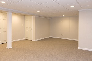 A complete finished basement system in a Algonquin home