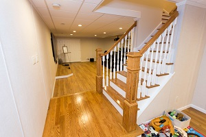 Finishing touches for a remodeled basement in Racine