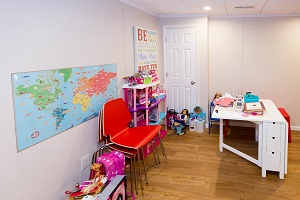Children's playroom installed in a Rockford basement