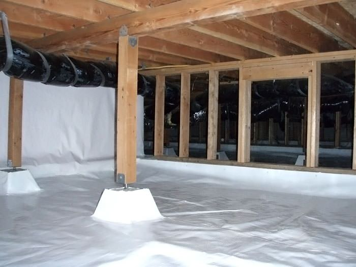 A Large Encapsulated Crawl E With Our Vapor Barrier System Installed In Sheboygan